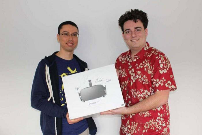 Ross Martin, Oculus VR:n perustaja Palmer Luckey ja ensimmäinen toimitettu Rift
