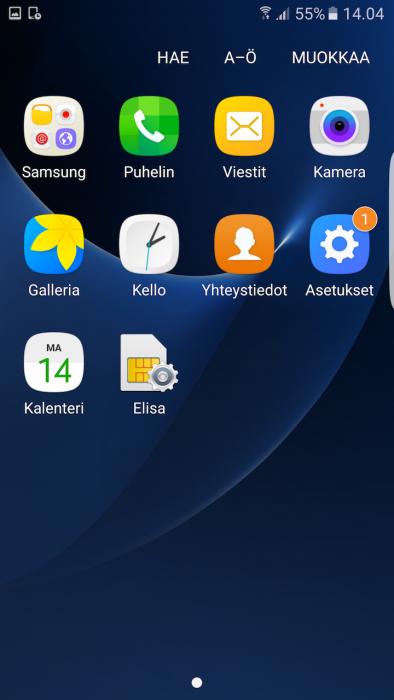 Galaxy S7 edge sovellukset siivottu