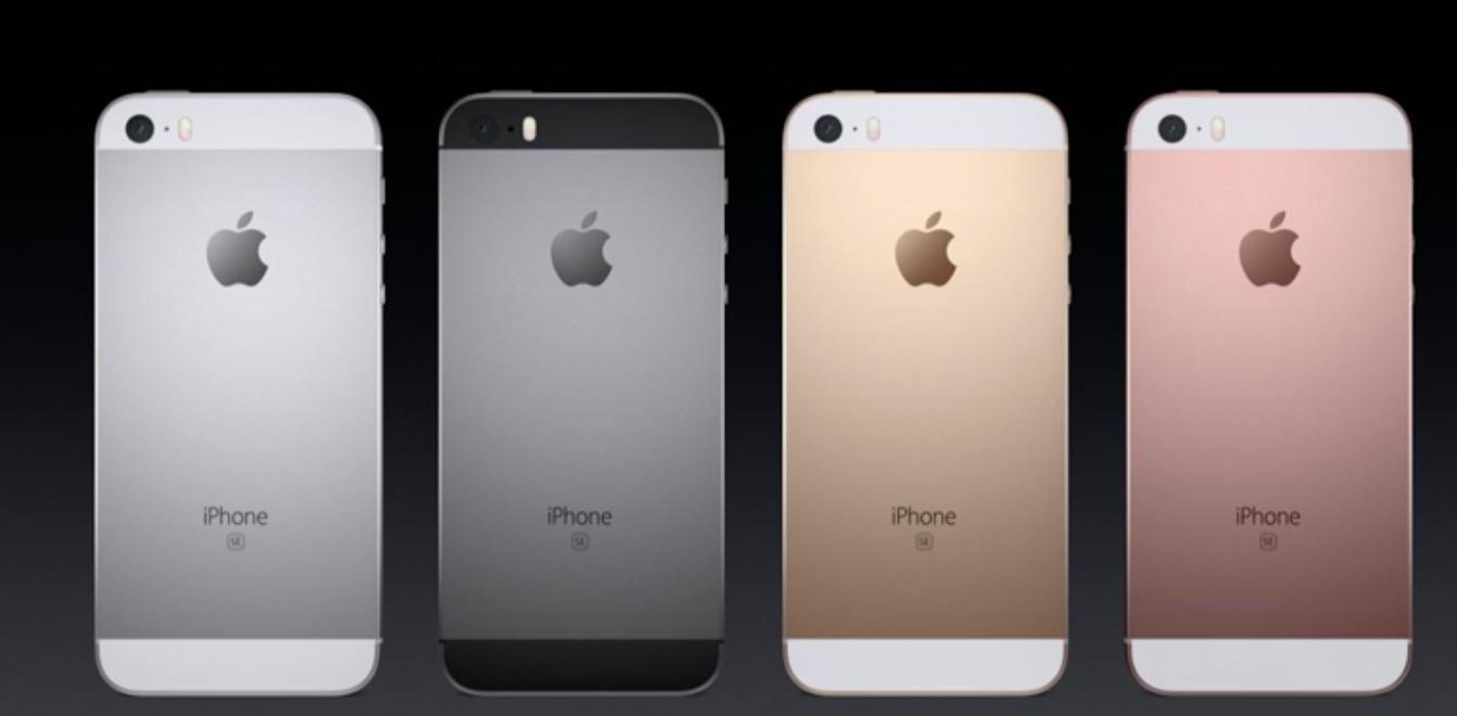 iPhone SE:n värivaihtoehdot. Neljän tuuman kokoluokassa ei ruusukultaa ole Applelta aiemmin nähty.