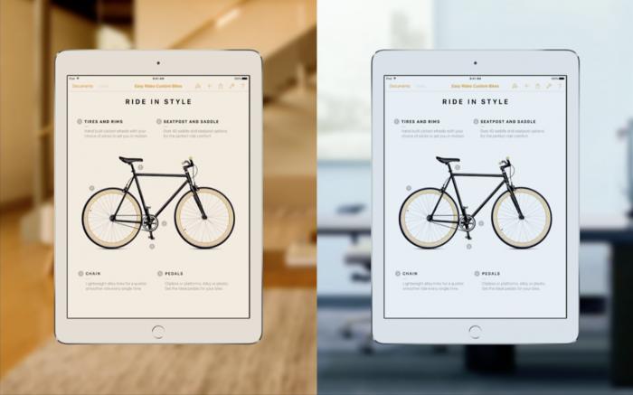 9,7 tuuman iPad Pron näyttö mukautuu värilämpötilaltaan ympäristön valoisuuteen.