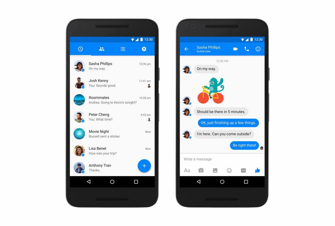 Facebook Messengerin uusi ilme Androidilla on Googlen Material Design -suuntauksen mukainen.
