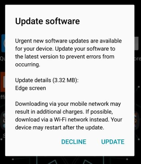 Galaxy S7 edgen ensimmäinen ohjelmistopäivitys liittyy reunanäytön toimintaan.