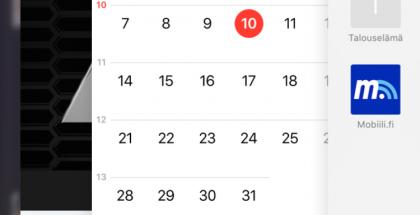 Nykyinen taustalla olevien sovellusten moniajonäkymä iOS 9:ssä.