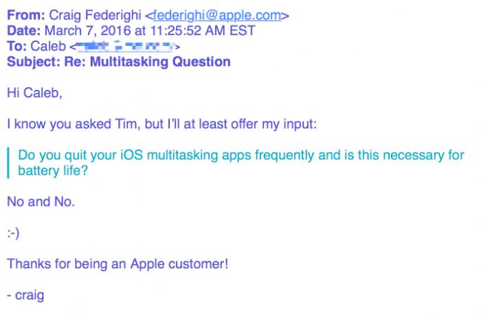 Applen iOS-pomon Craig Federighin vastaus asiakkaan moniajokysymykseen.