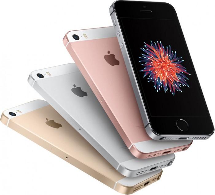 iPhone SE eri värivaihtoehtoina, uutena neljän tuuman koossa ruusukulta.