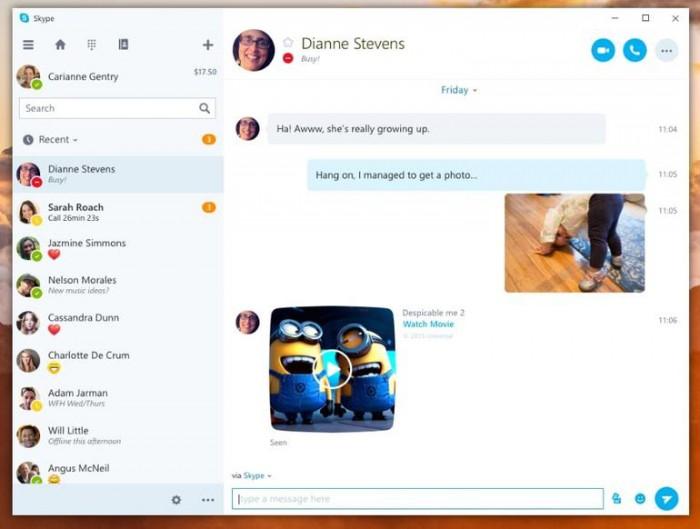 Kuvankaappaus uudesta Skype-sovelluksesta Windows 10:lle.