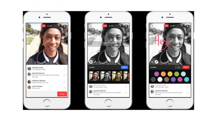 Filtterit ja piirtäminen Facebookin live-videoissa.