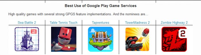 Google Play Awards ehdokkaat
