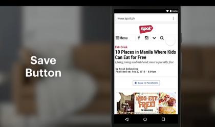 Pienempänä uudistuksena Facebook tuo myös tallennusnapin, joka voidaan liittää tykkää-napin tavoin verkkosivuille. Nappia painamalla haluamansa jutut (kuten vaikkapa Mobiili.fin artikkelit!) voi jatkossa merkata muistiin Facebookiin ja palata niihin myöhemmin.