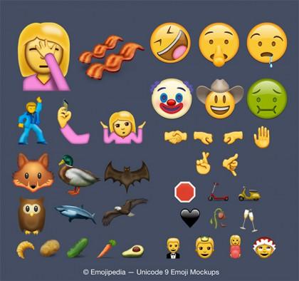 Tältä uusien emojien valikoima voi näyttää.
