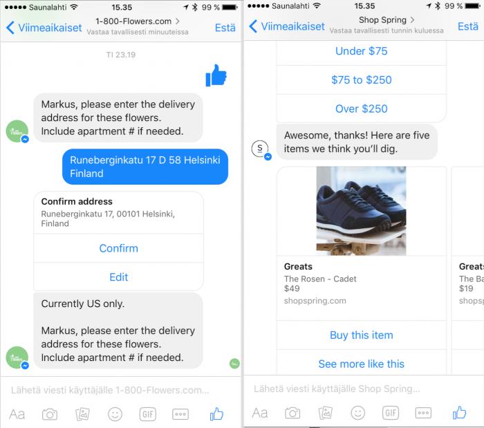 Facebook Messenger -botteja 1-800-Flowersilta sekä Springiltä.