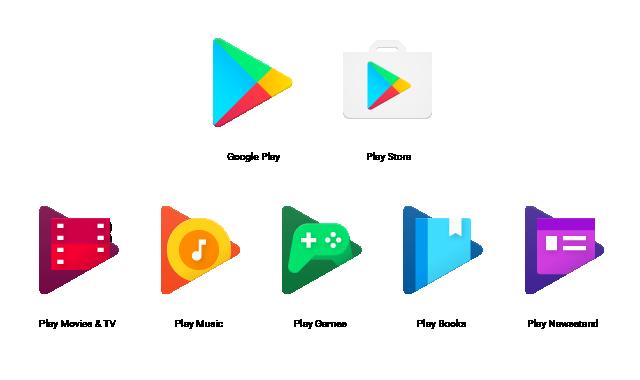 Vanha Google Play -kaupan sovellusikoni (oikea yläkulma) ja kaikki uudet Play-ikonit.