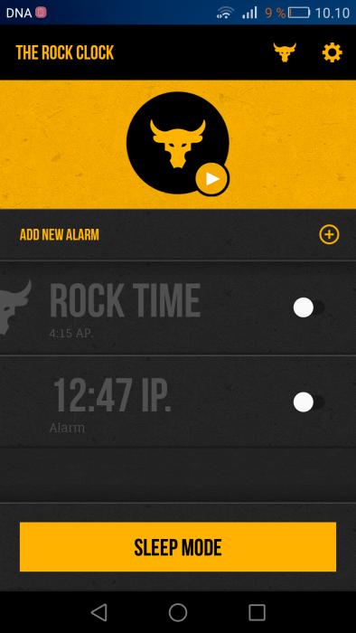 The Rock Clock -sovelluksen päänäkymä.