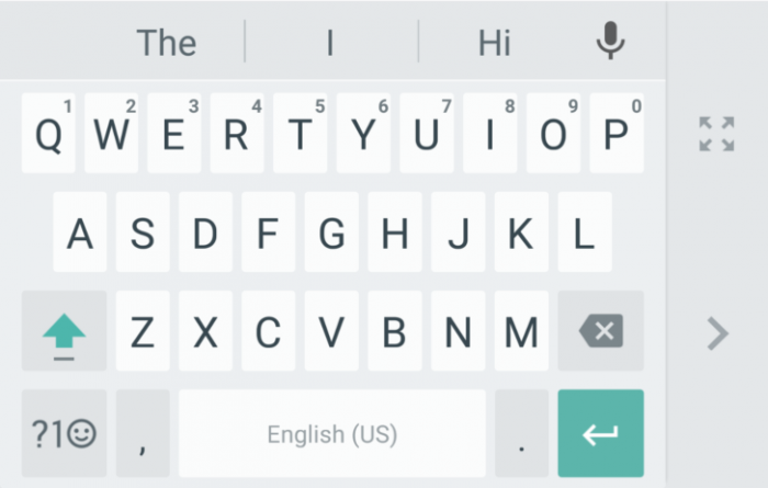 Google Keyboardin yhden käden tila.