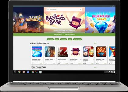 Google Playn sovellustarjonta löytyy jo nyt ensimmäisiltä Chromebookeilta.