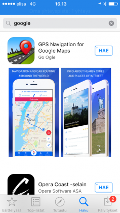 """Haku sanalla """"google"""" ei iOS:n App Storessa näytä lainkaan Googlen omia sovelluksia."""