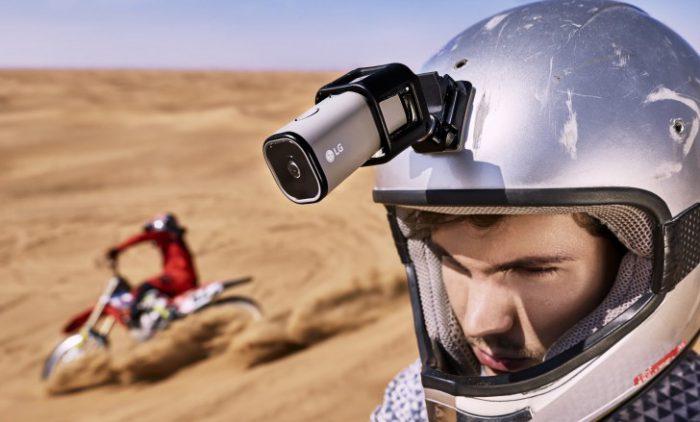 LG Action Cam LTE kiinnitettynä kypärään.