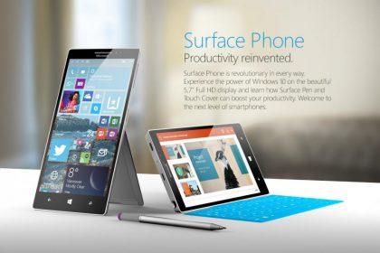 Microsoft Surface -puhelimen fanikonsepti.