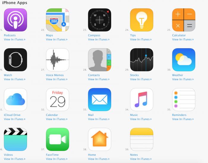 Monet Applen omat sovellukset ilmestyivät App Storeen.