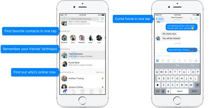 Facebook Messengerin uusittu kotinäkymä.