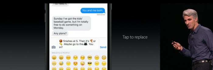 iOS 10:ssä sanat korvautuvat tarvittaessa emojilla yhdellä painalluksella. Toiminnon toimivuus suomen kielen kanssa on toki vielä auki.