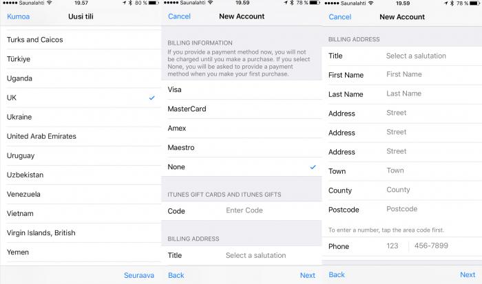 Uuden brittiläisen Apple ID:n luomisen vaiheita. Aluevalikosta tulee valita UK.