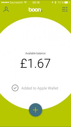 boon-sovelluksesta kortin voi lisätä Apple Walletiin helposti. Tässä jo lisättynä ja rahaa kulutettuna.