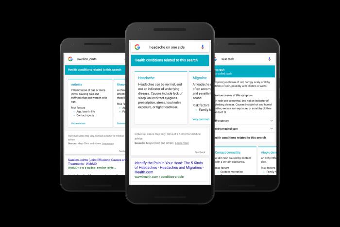 Googlen uudet oirehakutulokset.