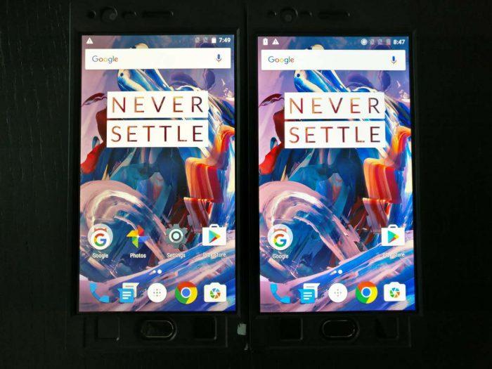 OnePlus 3:n näyttö saa ohjelmallisen päivityksen. Oikealla alkuperäinen, vasemmalla sRGB-tila.