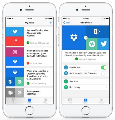 Microsoft Flow mahdollistaa eri palveluiden kytkemisen yhteistoimintaan. Kuvassa näkyy esimerkkejä mahdollisista toiminnoista.