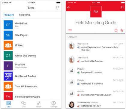 Microsoft SharePoint -sovellus tuo nyt intranetin mobiilisti helpommin käytettämmässä muodossa.
