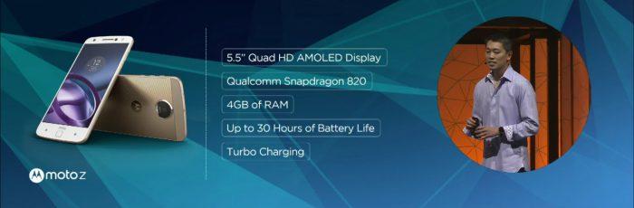 Lenovo Moto Z -puhelimen tekniset tiedot.