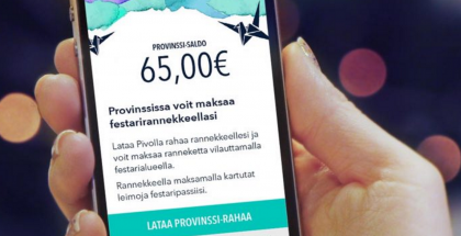 Pivolla voi ladata Provinssi-rannekkeelle rahaa.