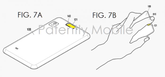 Samsungin tekninen visio puhelimen taakse sijoitetusta sormenjälkitunnistimesta.