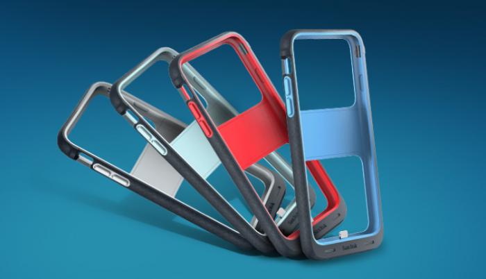 SanDisk iXpand Memory Case neljässä värissä.