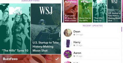 Snapchatin uudistuneessa tarinaosiossa on nyt laajasti esillä myös Discover-osion medianostot sekä tilatut Discover-kanavat.