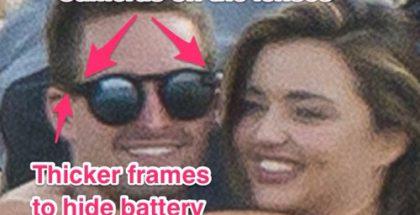 Snapchatin perustaja Evan Spiegel erikoislasit päässään yhdessä tyttöystävänsä Miranda Kerrin kanssa aiemmassa paparazzikuvassa.