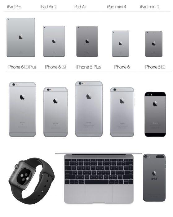 Applen eri versiot tähtiharmaasta värisävystä.