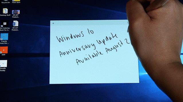 Windows 10 ja muistiinpanot kynäillen.