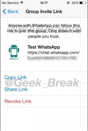 WhatsAppin ryhmäkeskusteluihin voi jakaa kutsun linkkinä, myös QR-koodina.
