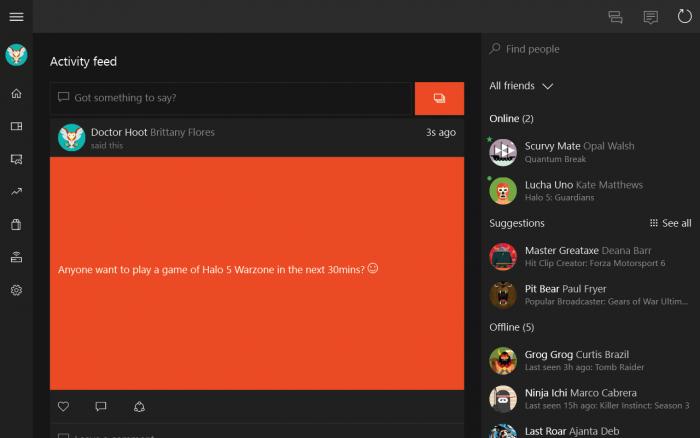 Xbox-sovelluksen tapahtumasyöte tabletilla.