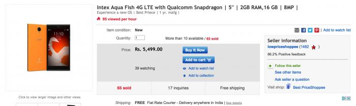 eBayssa myynnissä ollut Intex Aqua Fish.
