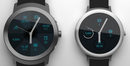 Huhutut uudet Android Wear -kellot Android Policen aiemmassa hahmotelmassa. Vasemmalla tiedetään nyt olevan LG Watch Sport ja oikealla LG Watch Style.