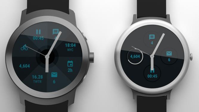 Huhutut Googlen omat Android Wear -kellot Android Policen aiemmassa hahmotelmassa. Vasemmalla Angelfish, oikealla Swordfish.