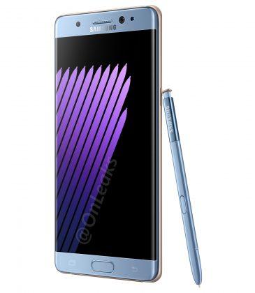 Samsung Galaxy Note7 sinisenä värivaihtoehtona yhdessä S Pen -kynänsä kanssa OnLeaksin julkaisemassa vuotaneessa kuvassa.