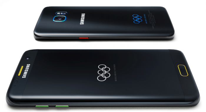 Samsung Galaxy S7 edge Olympic Games Edition eroaa perusversiosta design-detaljeiltaan.