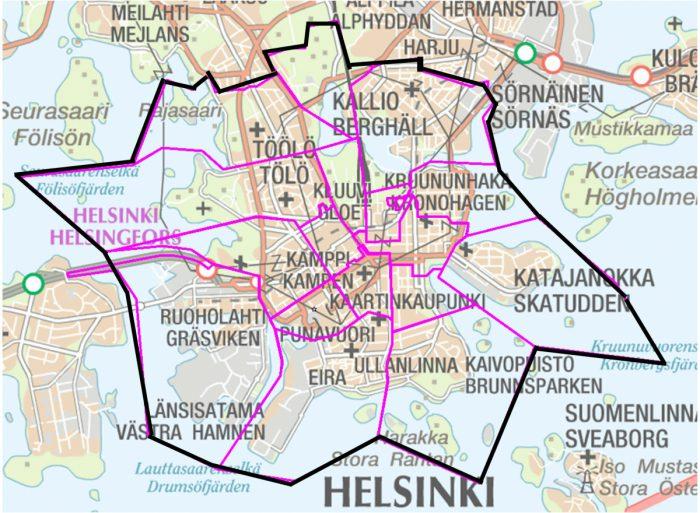 Kympin kyytikampanja on voimassa vain tällä Helsingin kantakaupungin alueella.