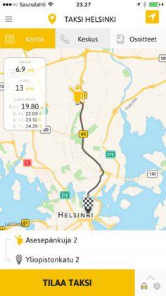 Taksi Helsinki -sovellus iPhonessa.