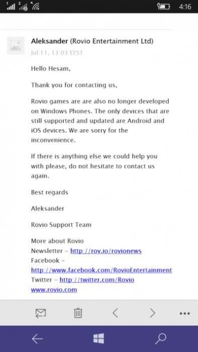 Rovion tukitiimi varmisti asiakkaalle lähetetyssä sähköpostissa Windows-laitetuen kohtalon.
