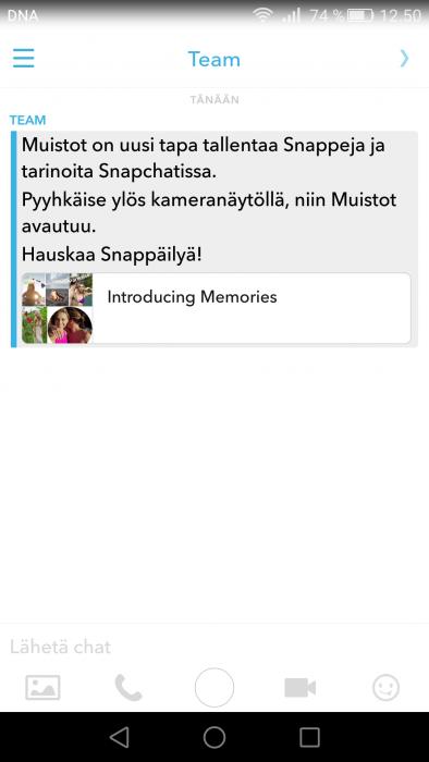 Snapchat muistot memories